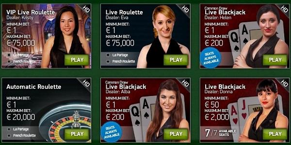 ライブカジノオンライン種類